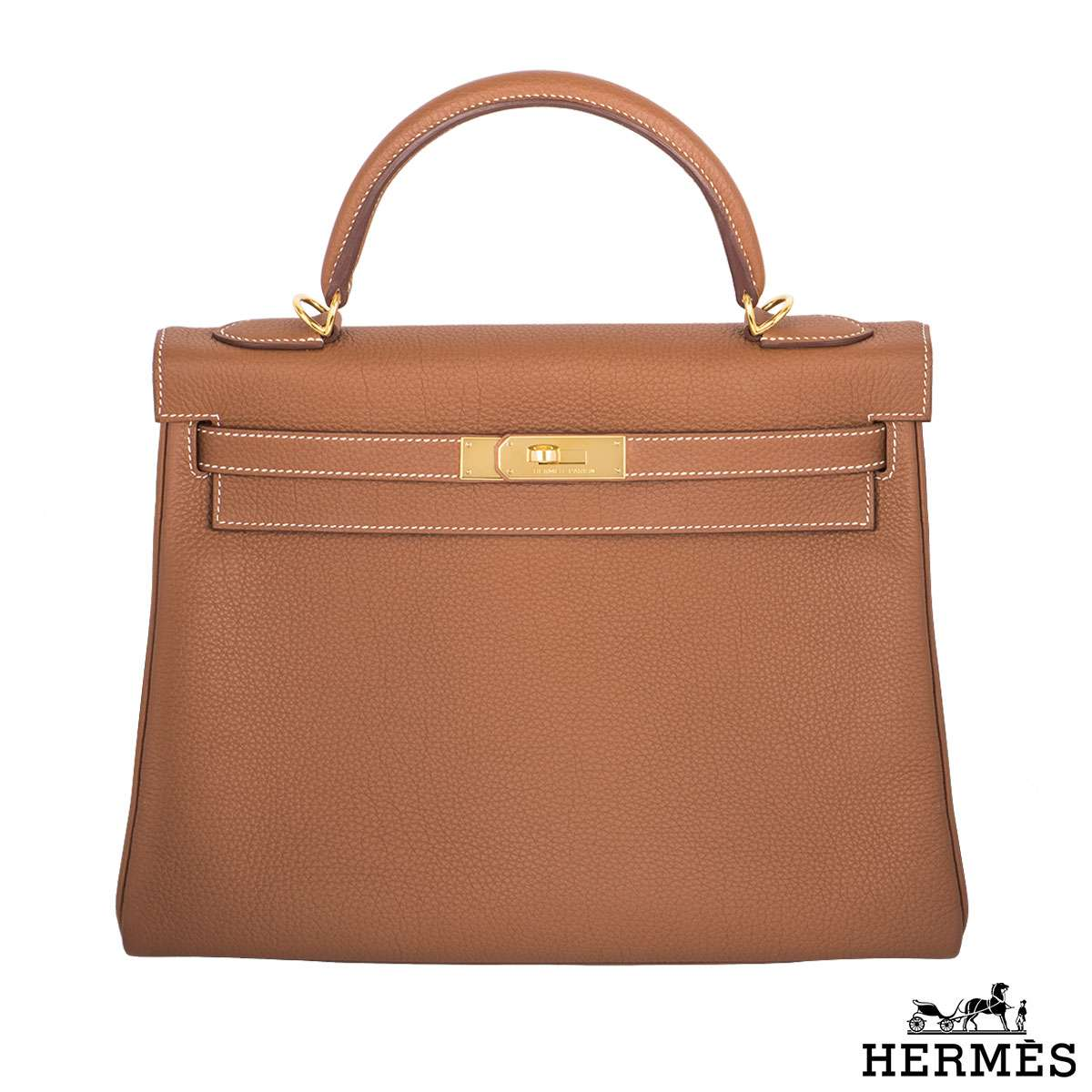 Hermès 32cm GHW Brown Kelly Bag